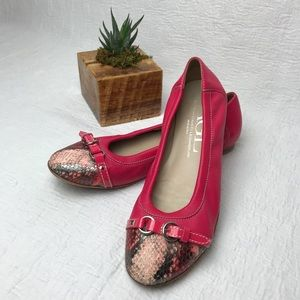 AGL Pink Flats with Snake Print Detail